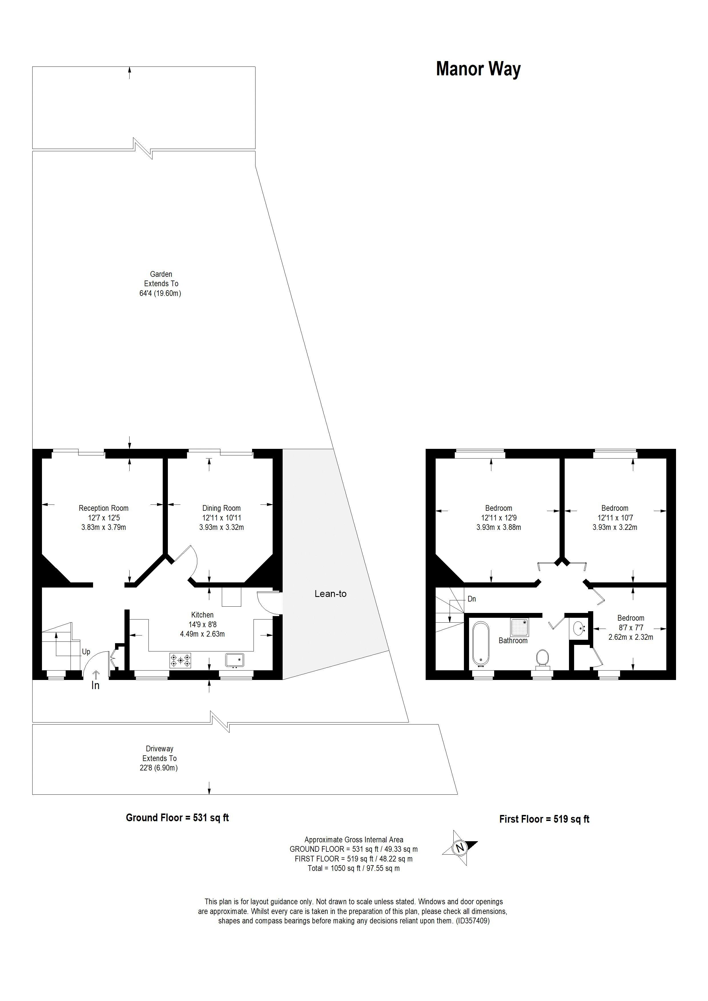 Floorplans For Manor Way, Bromley